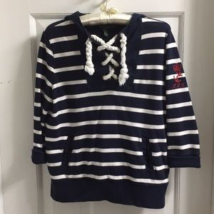 Ralph Lauren nautical hoodie small navy and white